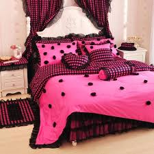 pink bedding full princess pink black lace rose bedding twin full queen cotton bed skirt wedding pink bedding