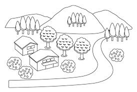無料の山と小川の田舎の風景のぬりえ ぬりえパーク