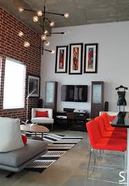 White Exposed Brick Wall Loft Modern Eliving Room Exposed Brick Wall Black White Red