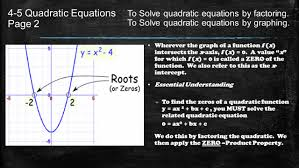 4 5 quadratic equations page 2 wherever the graph of a function f