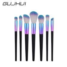 maquiagem unicorn professional make up brush 7pcs foundation brush bright blue black mermaid eye shadow