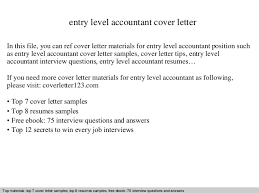 Sample Cover Letter For Entry Level Entry Level Accountant Cover Letter