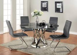 modern dark grey leather dining chairs with stylish sectional frame and round glass table a