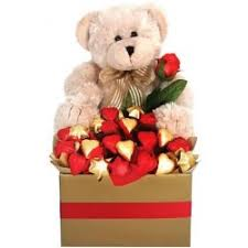 valentine teddy with chocolates