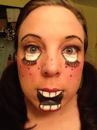 working on my creepy doll makeup