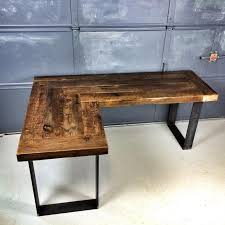 reclaimed wood l shaped desk