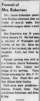 Jennie Dorrell Robertson death - Newspapers.com
