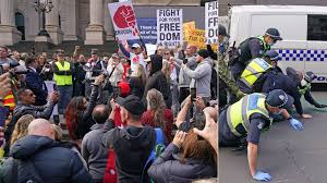 In melbourne, mounted police had to be called in to help disperse. Protests In Melbourne Violent Scenes As People Call For Bill Gates Arrest 7news Com Au
