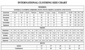 American Female Size Chart Clothes Sizes For Shopping In The Usa Europe Britain