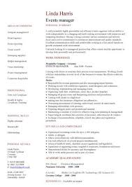 event management cv examples