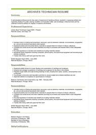 Sample Archives Technician Resume