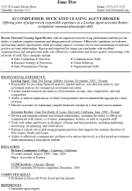 ... sample resume for leasing consultant agent ...