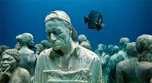 Real underwater world Real Shark Each Figure In This Underwater Artpiece Is Based On Real Person The Gallivant Post Cancún Underwater Museum Submerged World The Gallivant Post