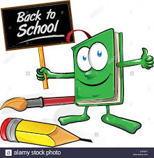 book cartoon with signboard back to stock image
