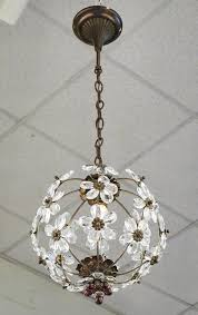 french antique round brass chandelier with crystal flowers great attention to detail with brass