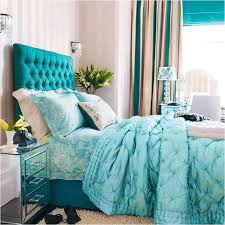Bedroom:Amusing Bedroom Decorating With Turquoise Headboard And Stripped  Curtain Ideas Amusing Bedroom Decorating With