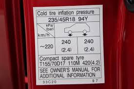 Michelin Tire Pressure Chart Car Toyota Camry Tyre Pressure Carsguide