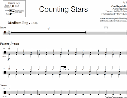 drums sheet music counting stars one republic drum sheet music onlinedrummer com