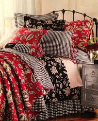 Would love this in the downstairs bedroom... white beadboard walls ... & Would love this in the downstairs bedroom. white beadboard walls, paint  headboard and dresser black, black floral, red floral and gingham check  bedding. Adamdwight.com
