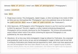 Contemporary Photography License Agreement Template Composition ...