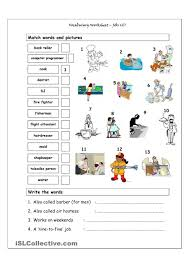 fichas y recursos para trabajar los oficios en la lengua inglesa vocabulary worksheet focusing on jobs more difficult it has two sections match words and pictures matching exercise and write the words creative