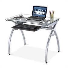 glass top metal computer desk