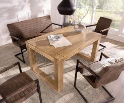 Esstisch Indra Akazie Natur 140x90 Kufengestell Massiv Möbel Tische