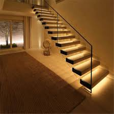 indoor straight stairs tempered glass handrail solid wood floating stair get latest