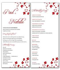 Diy Red Wild Flowers Wedding Program Microsoft Word Template