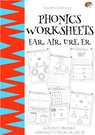 Printable phonics worksheets and flash cards: Phonics Ear Air Ure Er Worksheets Phonics Phonics Worksheets 3 Letter Words