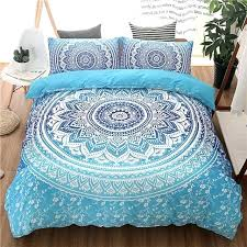 bohemian queen king size duvet cover set blue printing quilt bed linen bedding sets boho comforter
