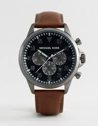 michael kors michl kors mk8536 gage chronograph leather watch in brown