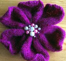 Knitted Flower Pattern Extraordinary Purple Knitted Flower ⋆ Knitting Bee