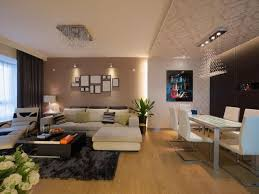 While much of this open-concept living room and dining room is in a sleek