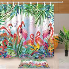 product details of flamingo polyester shower curtain floor mat panel sheer bathroom decor hook set