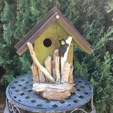 rustic wood birdhouse functional unique by birdhousesbymichele
