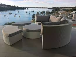 a white wicker round outdoor lounge setting in perth made of white all