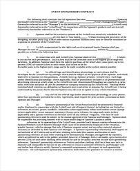event agreement contract 11 event contract templates free sample example format