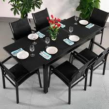 6 seater modern aluminium glass top black extending garden furniture outdoor dining table set 17