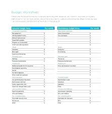 Household Expense Sheet Printable Budget Worksheet Free Word Excel Documents