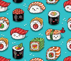 cute sushi wallpaper. Modren Cute Cute Kawaii Sushi Fabric By Penguinhouse On Spoonflower  Custom In Sushi Wallpaper S