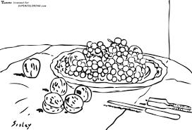 Druiven En Walnoten Op Een Tafel Door Alfred Sisley Kleurplaat