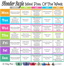 21 Day Fix Meal Chart Slender Suzie One Week 21 Day Fix Meal Plan Slender Suzie