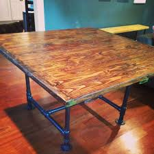 Industrial Kitchen Table With Rustic Table Top Etsy