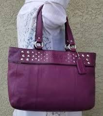 ... COACH-Purple-East-West-Leather-Studded-15235-Shoulder-