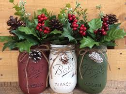 Mason Jar Holiday Decorations Painted Mason Jars Christmas Decor Vase Home Decor Holiday 59