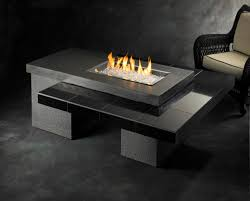 table design ideas. Furniture Ideas, Black Rectangle Fire Pit Table With Rattan Patio Chair And Concrete Tiles Material Design Ideas B