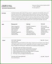 Resume Restaurant Manager Restaurant Manager Resume Sample Perfect 54 Manager Resumes