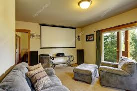 cinema room furniture. Interesting Furniture Cinema Room In American House With Projector Screen On The Wall U2014 Stock  Photo In Room Furniture