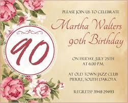 Wording For 90th Birthday Party Invitations Melaniekannokada Com
